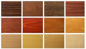 Mixed wooden texture on white background