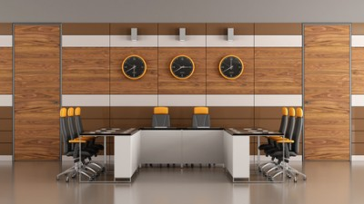 Contemporary boardroom with woden paneling,two doors and meeting table - 3D Rendering