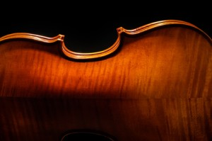 Violin rear view on black background cropped closeup