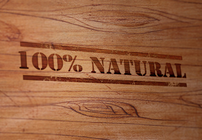 "Wooden surface is stamped with ""Natural"" label. 3D rendering."